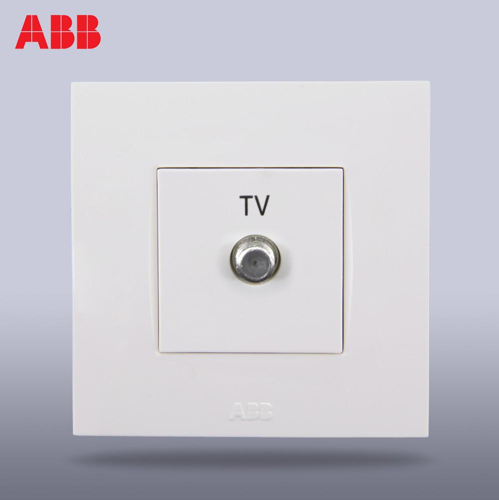 ABB 象牙白86型單電視 由藝AU30344-WW白色插座