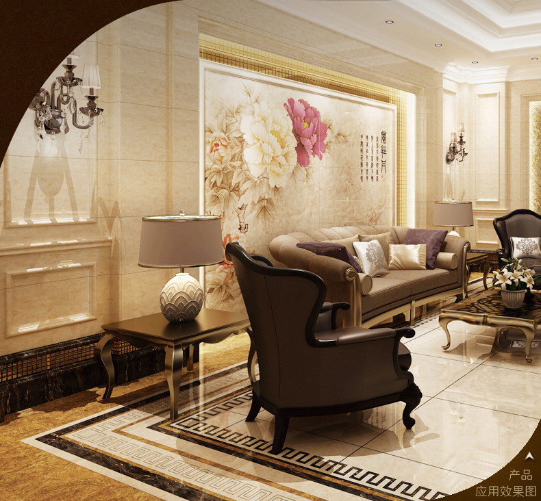 冠珠瓷砖卡布基诺电视背景墙装饰边框线条微晶线条仿