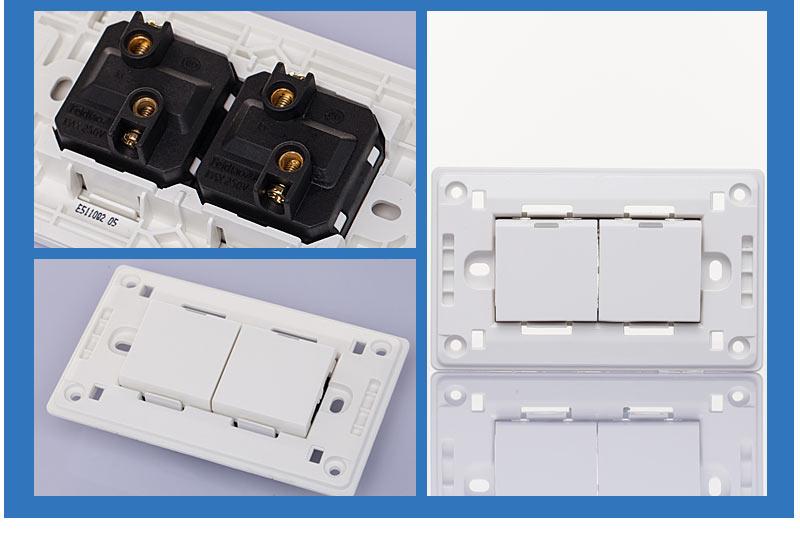 飞雕a3-118系列开关面板 二位二开单控两开单控面板 单联双开电源开关