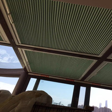 【万增门窗】上海凤铝亚草绿铝合金露天阳台窗钢化玻璃顶
