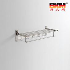 贝克玛卫浴 不锈钢五金挂件 BKM-WJ0118GL 多功能折叠浴巾架带衣钩|【SUS304不锈钢】厂家直销