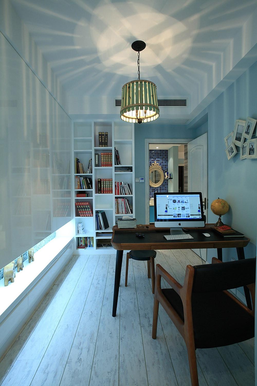 书房照片墙书架效果图