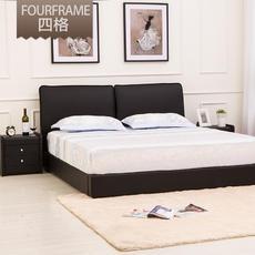 2016年新款牛皮床1.8米小户型真皮床双人皮床现代简约软床六尺床|上海包安装送货。