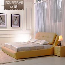 新款婚床1.5/1.8米双人真皮床皮床现代时尚牛皮双人皮艺床|2016新款牛皮床,上海包安装到家。皮床:1.5米和1.8米同价。