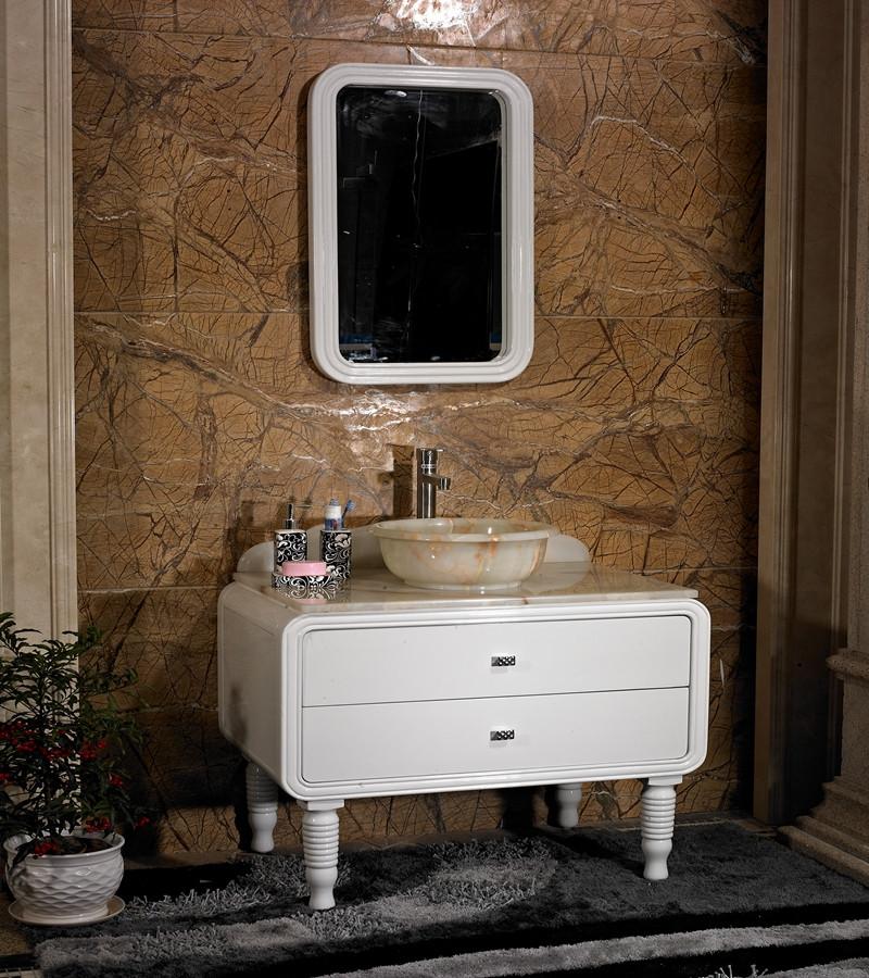 美式简欧式浴室柜仿古实木落地洗脸盆组合大理石台特价新古典卫浴