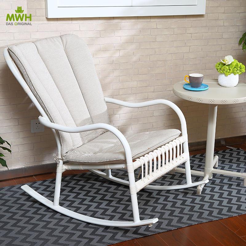 MWH曼好家德国设计手工编藤摇椅(白色、黑色) FRS50868A
