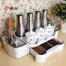 厨房用品置物架 3层 筷子笼调味调料盒沥水架