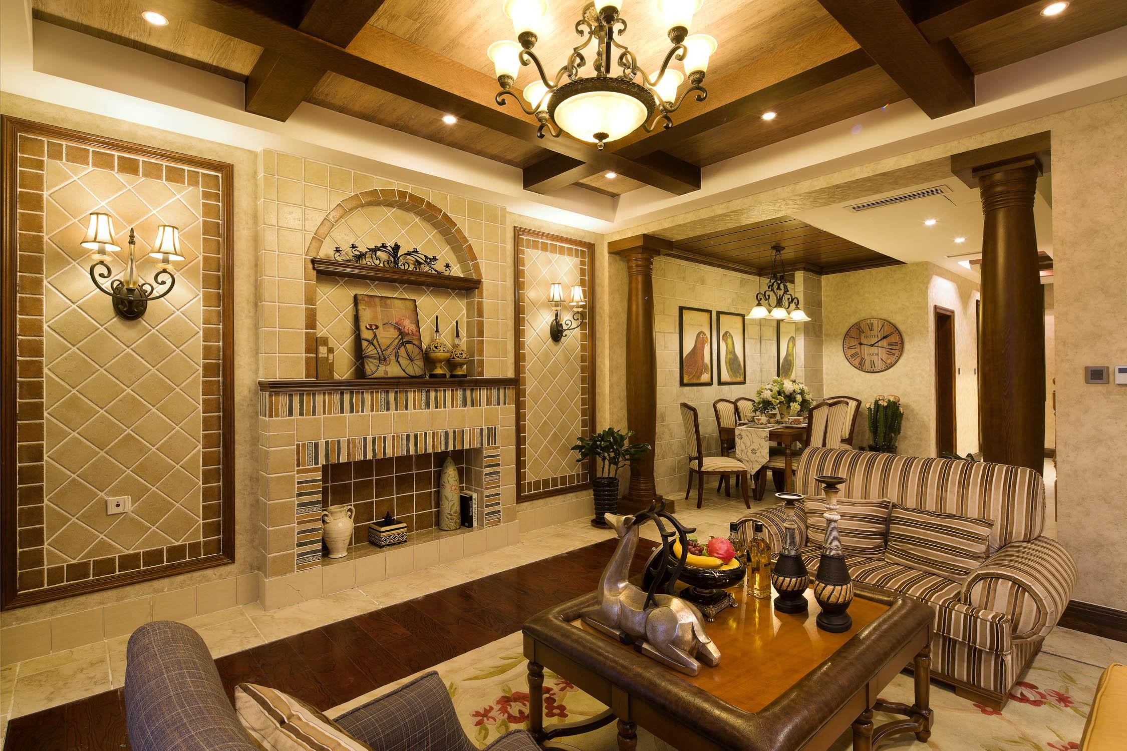 美式风格一层别墅时尚客厅设计图