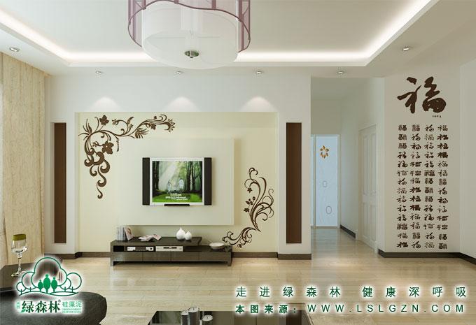绿森林硅藻泥欧式背景墙图片