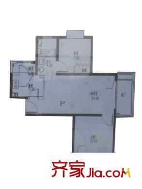 恒德苑户型图P户型 2室2厅1卫1厨