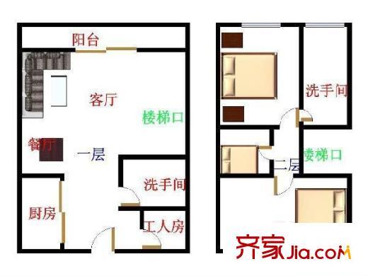旭飞桐林半山花园 3室 户型图