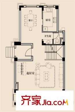 中海悦府别墅150平b户型一层户型图 3室4厅3卫1厨