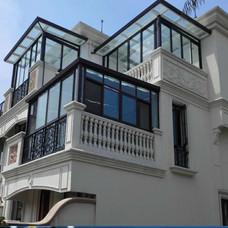 【万增门窗品牌阳光房】新美鱼阳光房顶楼露台平顶 铝合金阳光房