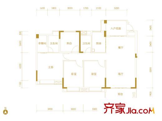 广州星河山海湾y1-10栋402-702标准层户型 4室2厅2卫1厨