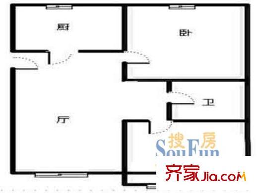上海 汇园小区 二室户 户型图