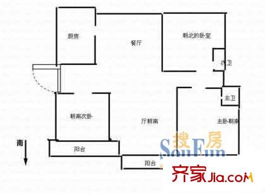 上海 汇园小区 三室户 户型图