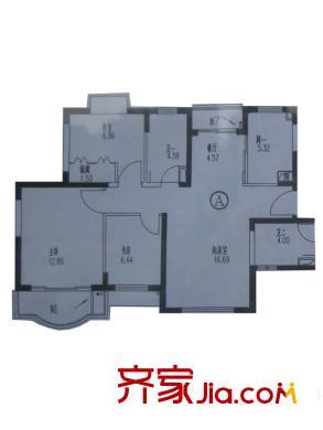 恒德苑户型图A户型 3室2厅2卫1厨