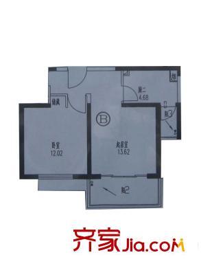 恒德苑户型图B户型 1室1厅1卫1厨