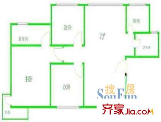 华安公寓(浦东)户型图上海 华安公寓(浦东)3室 户型图 3室2厅2卫1厨