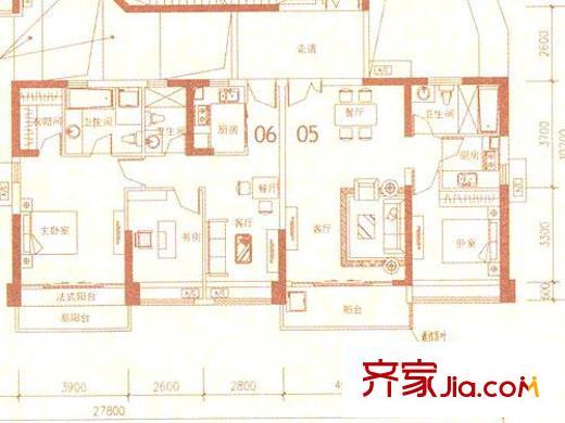佳兆业水岸新都二期户型图40,41栋a座奇数层05 06 3室2厅3卫
