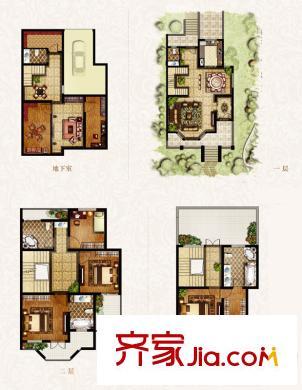 锦绣逸庭别墅c2户型图 4室4厅5卫1厨