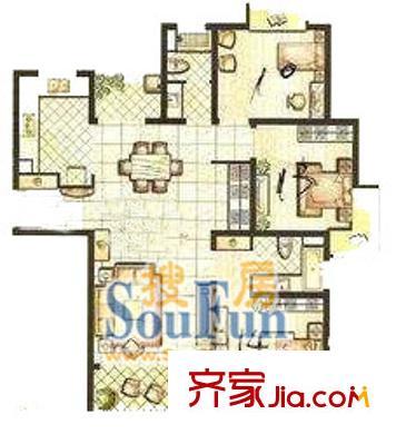 上海 界龙新世纪公寓3室 户型图