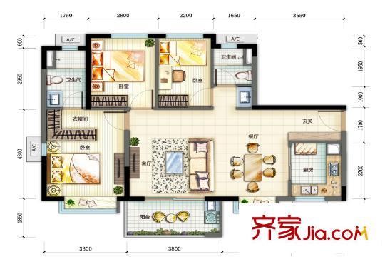 万科珠江东岸96平方米单元户型图 3室2厅2卫1厨