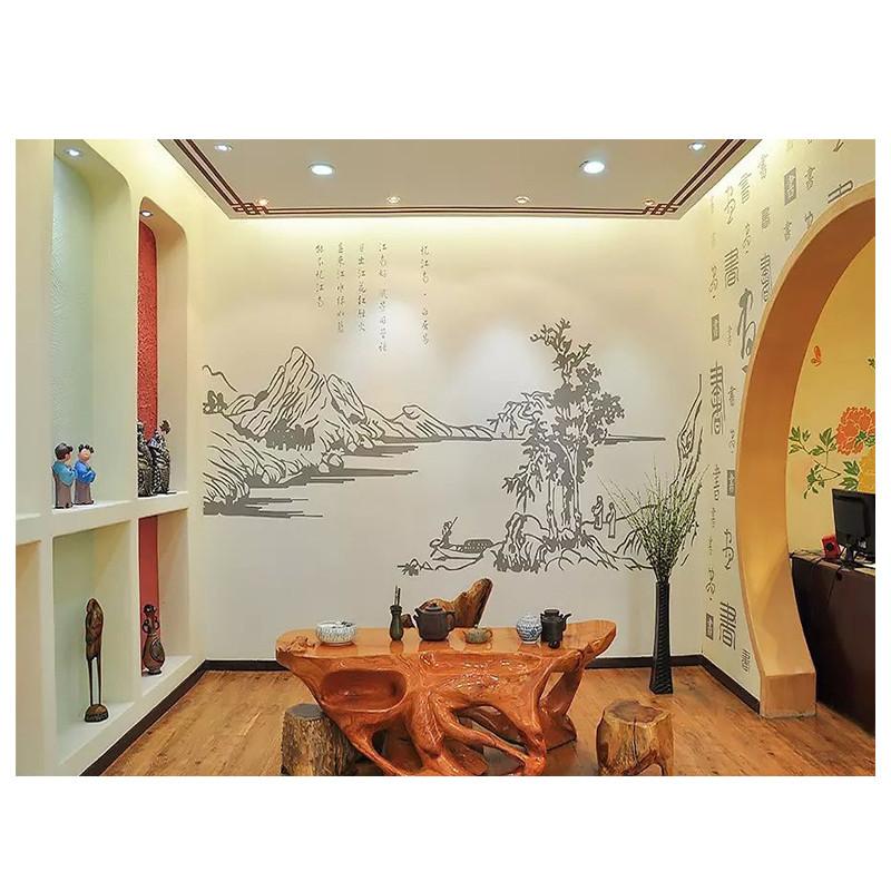 绿森林硅藻泥电视背景-中式风格