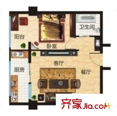 同安家园二期户型图1室2厅 户型图 1室2厅