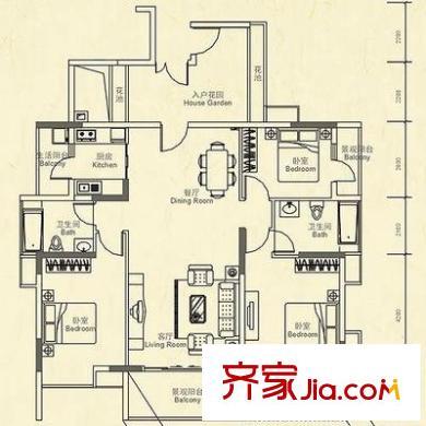 泰华豪园户型图三室两厅一厨两卫 3室2厅2卫1厨