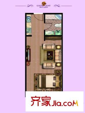 金光丽园微时代18#楼46平方米户型图 1室1厅1卫1厨