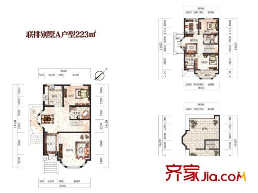 维拉villa庄园二期联排别墅a户型图 3室3厅3卫2厨