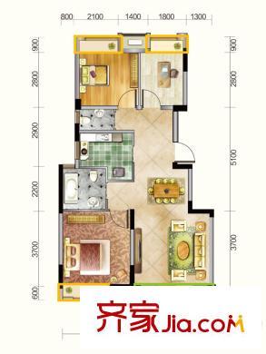 新城春天里户型图d户型(售罄) 3室2厅2卫1厨