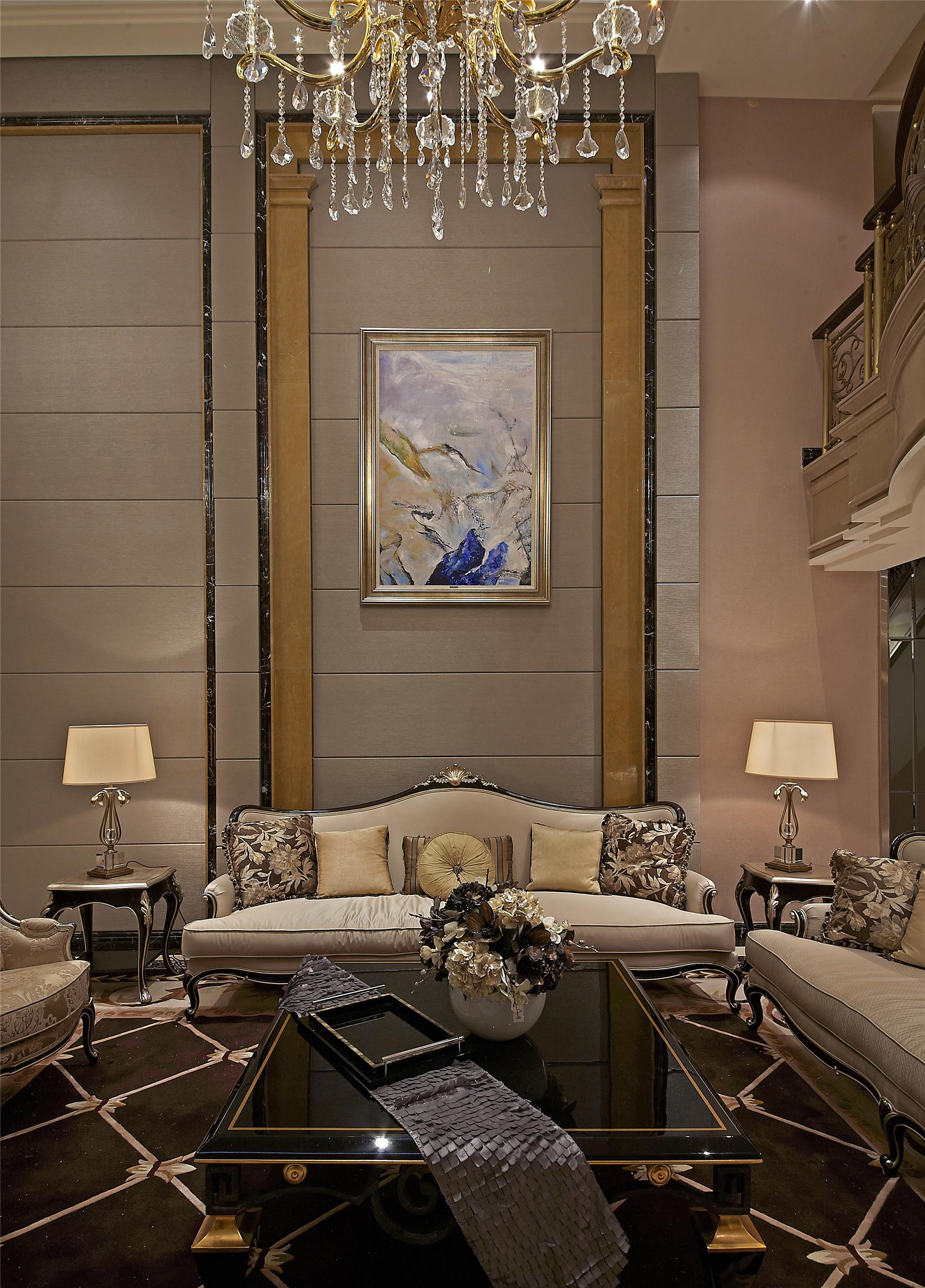 欧式风格艺术沙发背景墙装修图片
