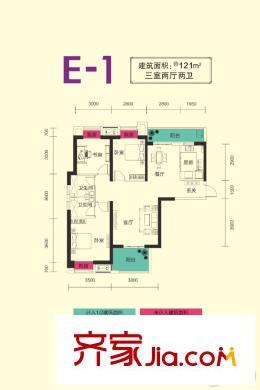 电建地产盛世江城二期3,4号楼e1户型 3室2厅2卫1厨