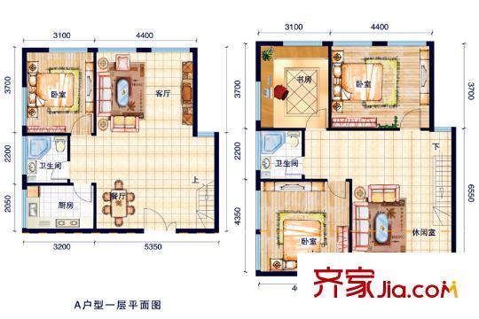 长风世纪广场a户型户型图 4室3厅1卫2厨