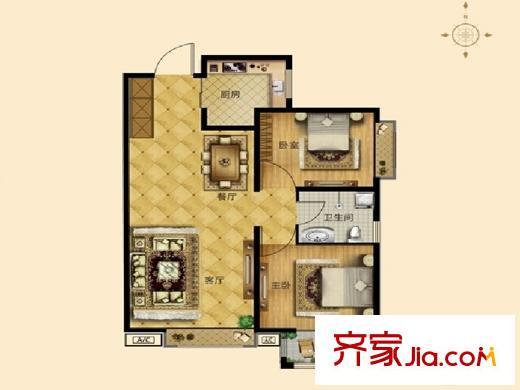 花溪谷3#户型图a3 2室2厅1卫1厨