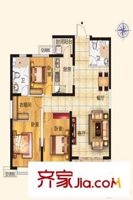 太原恒大御景湾6/7/8#楼128平方米户型 3室2厅2卫1厨
