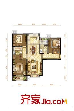 富力城七期127平米户型 3室2厅2卫