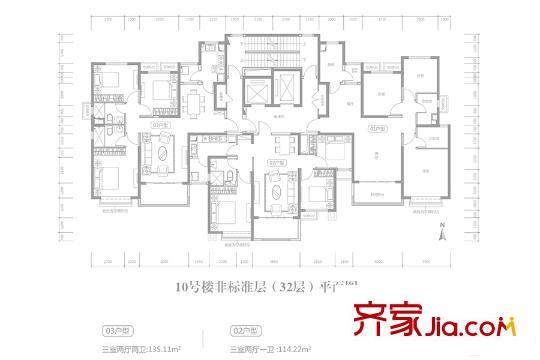 太原恒大滨河左岸二期10号楼32层平面户型图 3室2厅2卫1厨