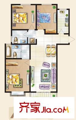 正商幸福港湾户型图二期a2 户型 3室2厅2卫1厨