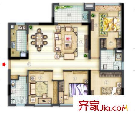 丽岛紫园户型图4室2厅 4室2厅