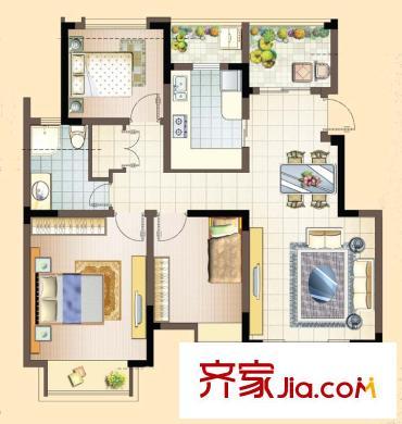 苏宁名都汇户型图一期1栋b户型 3室2厅1卫1厨