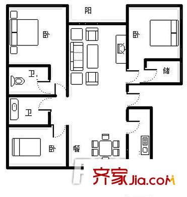 天裕小区 3室 户型图