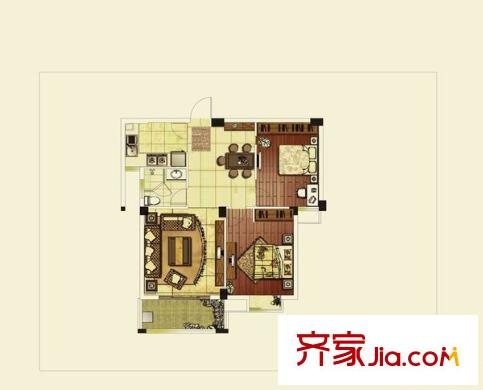 昆山 中城国际广场小区 户型图 2室2厅2卫