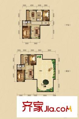 绿景园复式b户型四室两厅双卫204.75平方米