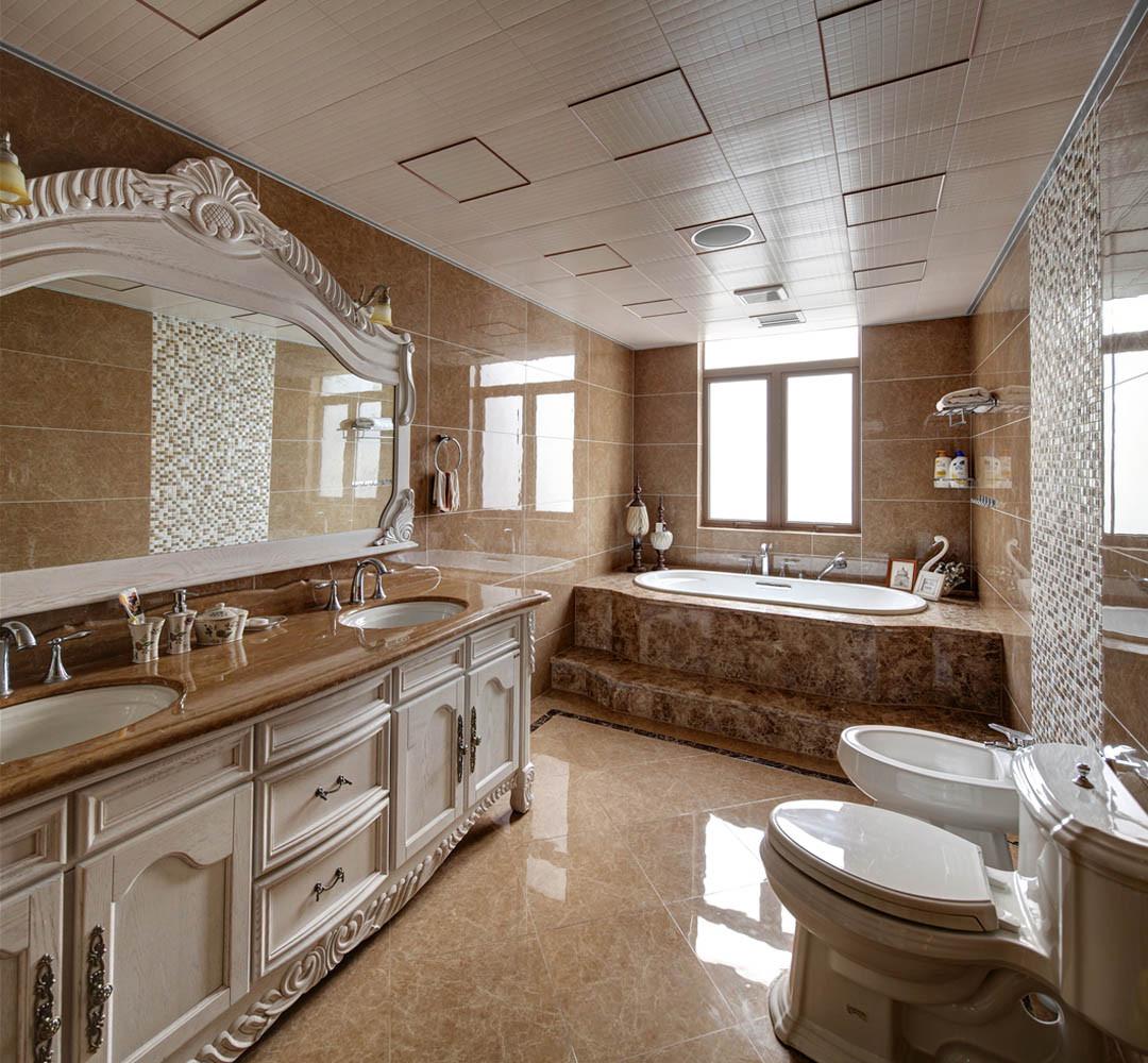 欧式田园风格富裕型140平米以上阁楼卫生间装潢