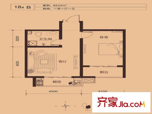 尚华城(二期)18# 63平方米 b户型 1室1厅1卫1厨