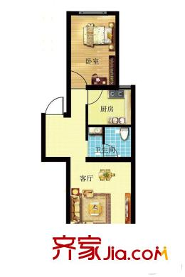 华安丽景9号楼 d4户型40平方米一居 1室1厅1卫1厨