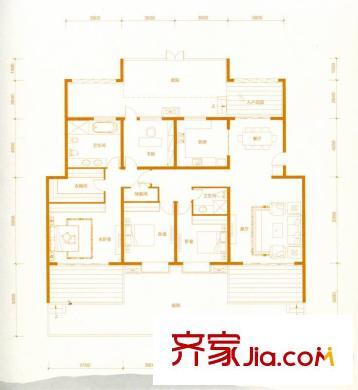 赵都华府叠拼首层 b1户型 4室2厅2卫1厨